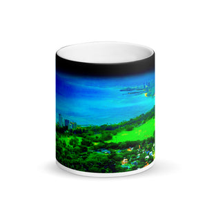 Honolulu  View Matte Black Magic 11oz Coffee Mug