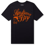 Heritage Script Men's T - Black w/ Orange