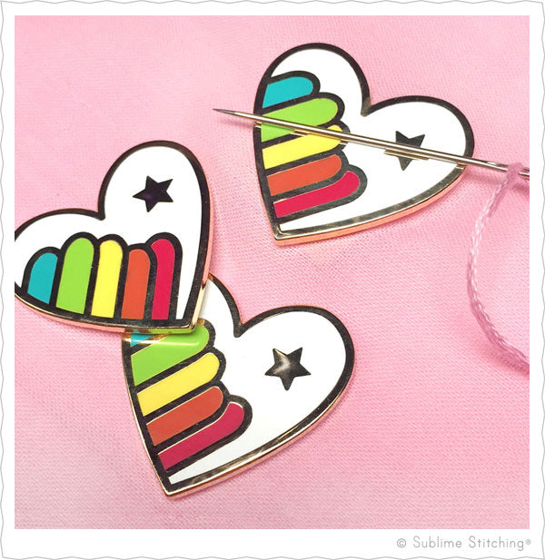 Hoop Flair Needle Minders from Sublime Stitching Rainbow Hearts