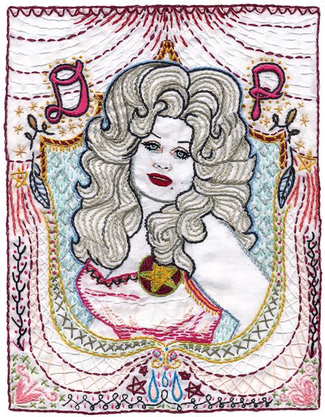 """Blue Dolly"" (Parton) Embroidery by Jenny Hart"