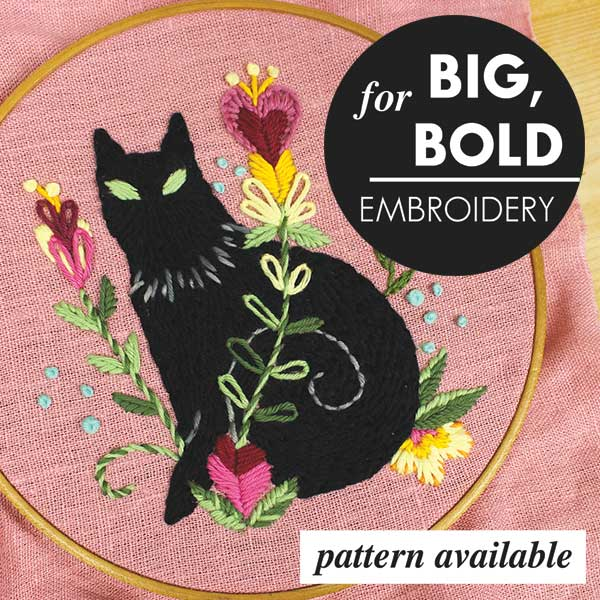 Black Cat Embroidery Pattern from Sublime Stitching