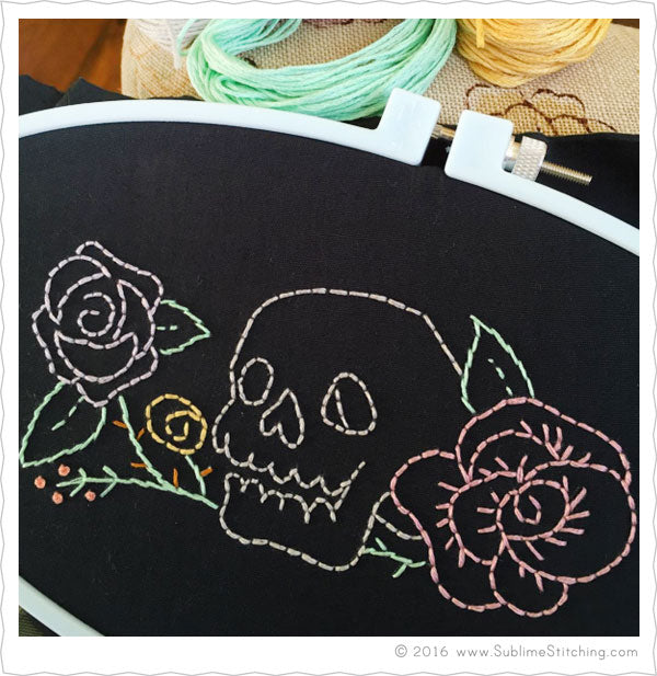 Hand Embroidery Pattern Skull and Roses