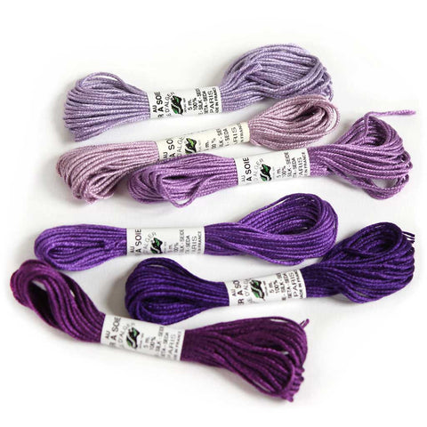 Au Ver à Soie 7 Strand Silk Alger Thread for Hand Embroidery - VIOLET