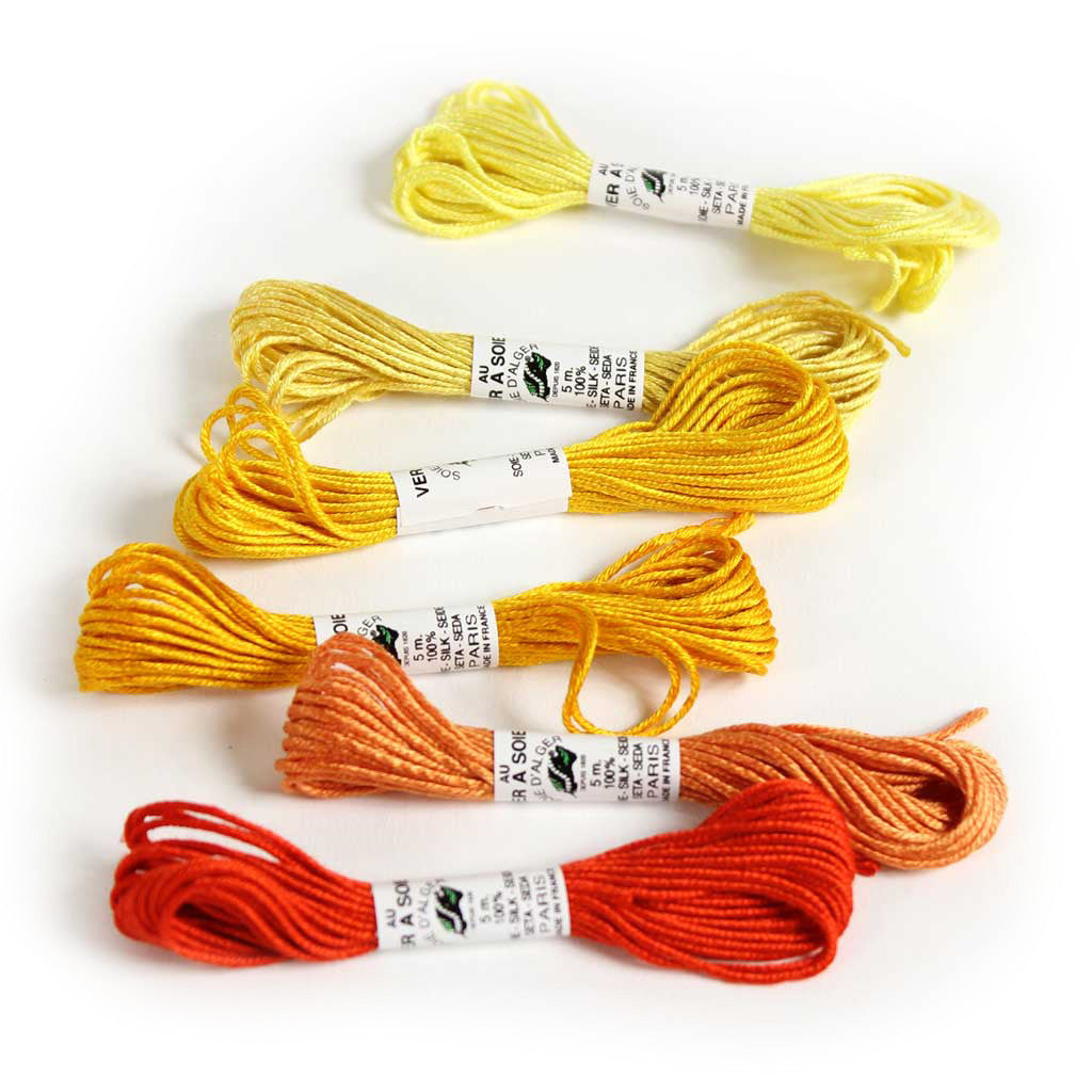 Au Ver à Soie 7 Strand Silk Alger Thread for Hand Embroidery - YELLOW