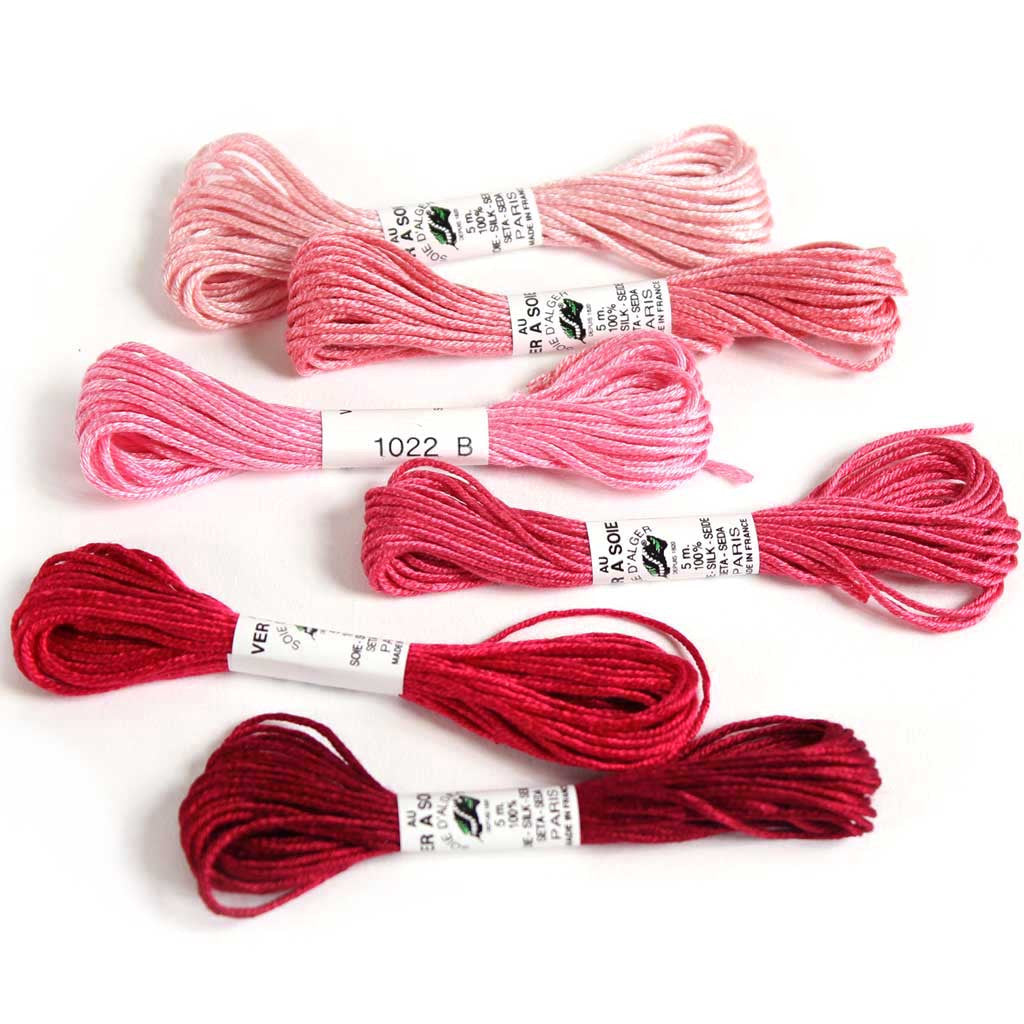 Au Ver à Soie 7 Strand Silk Alger Thread for Hand Embroidery - PINK