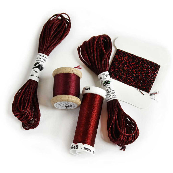 Au Ver à Soie Sampler Collection Silk Thread for Hand Embroidery - BORDEAUX