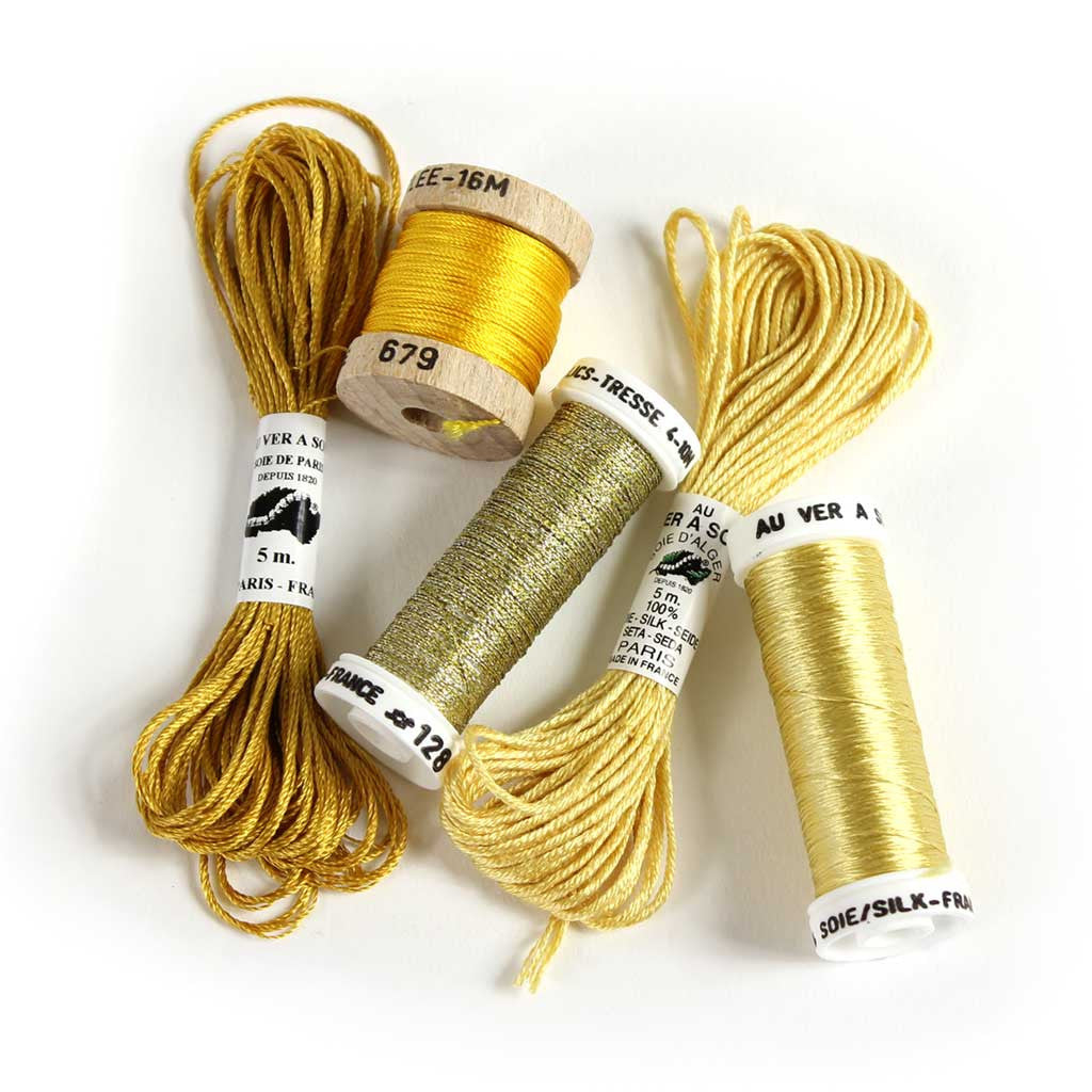 Au Ver à Soie Sampler Collection Silk Thread for Hand Embroidery - GOLD