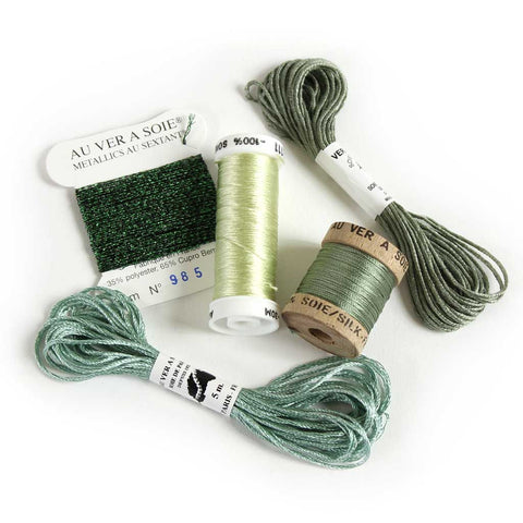 Au Ver à Soie Sampler Collection Silk Thread for Hand Embroidery - GREEN