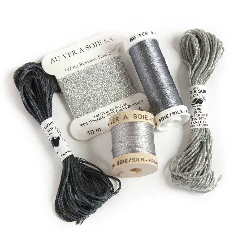 Au Ver à Soie Sampler Collection Silk Thread for Hand Embroidery - GREY