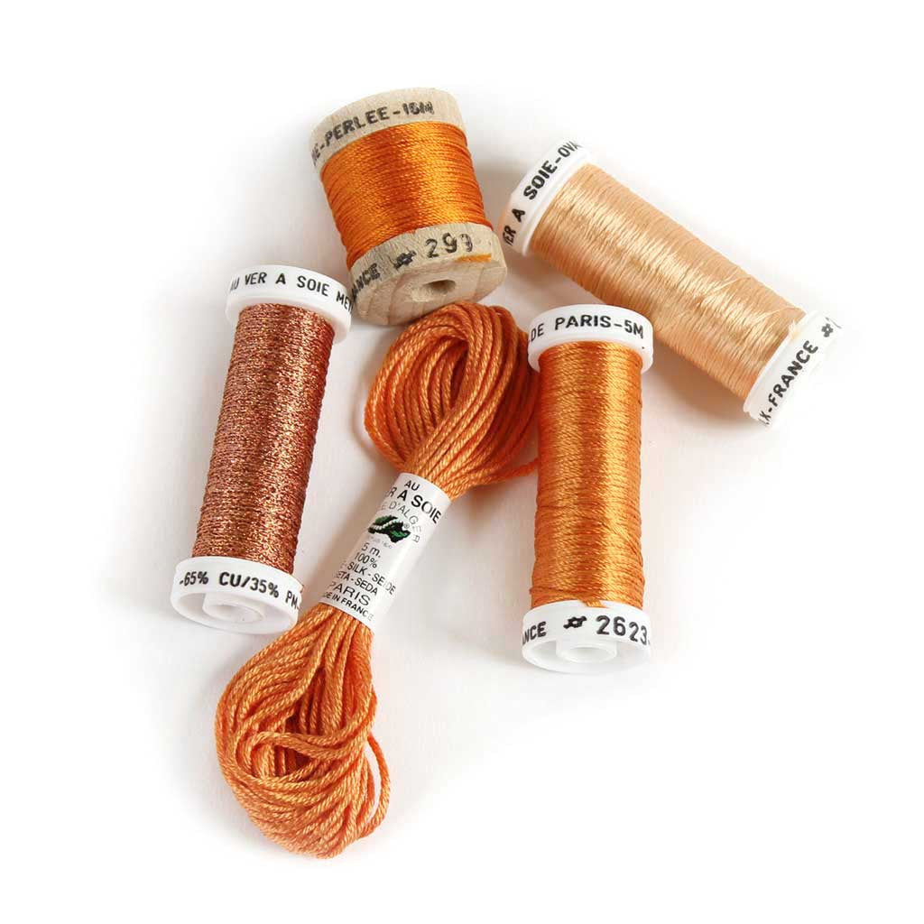 Au Ver à Soie Sampler Collection Silk Thread for Hand Embroidery - ORANGE