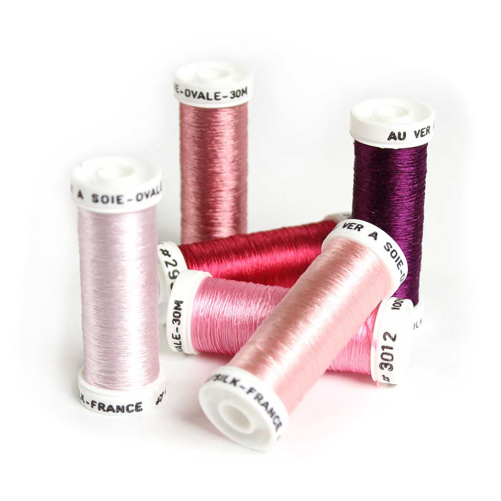 Au Ver à Soie Pure Silk Ovale Thread for Hand Embroidery - PINK