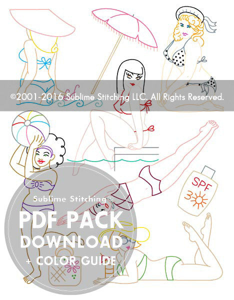 SMALL PACK Embroidery Patterns -  BEACH BABES