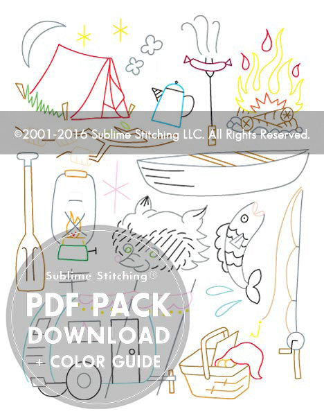 SMALL PACK Embroidery Patterns -  CAMP OUT
