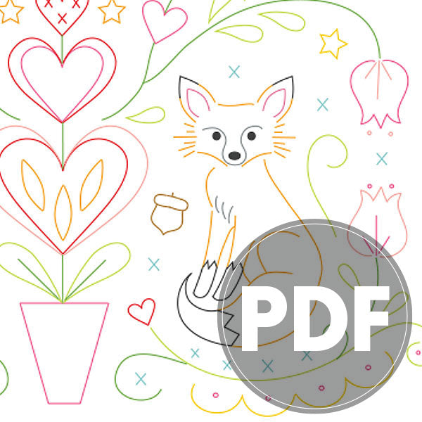PDF Embroidery Pattern - FOLK FOXES