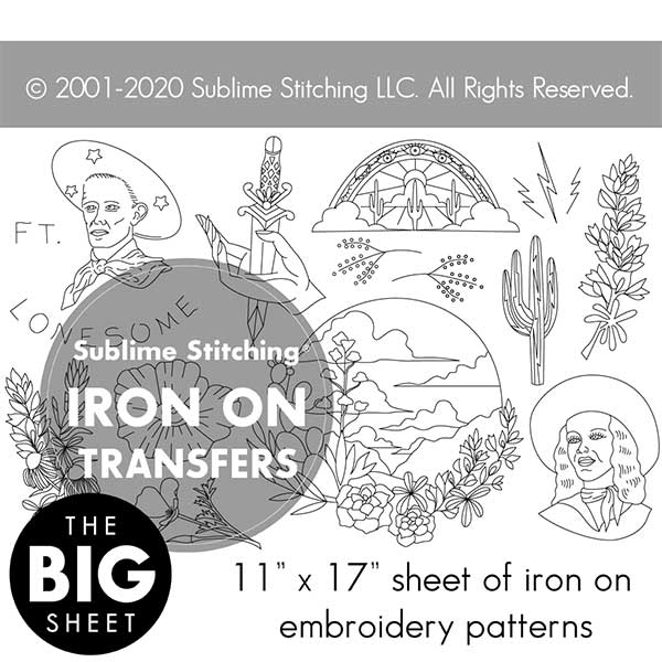 FT. LONESOME - Big Sheet Embroidery Transfer Patterns
