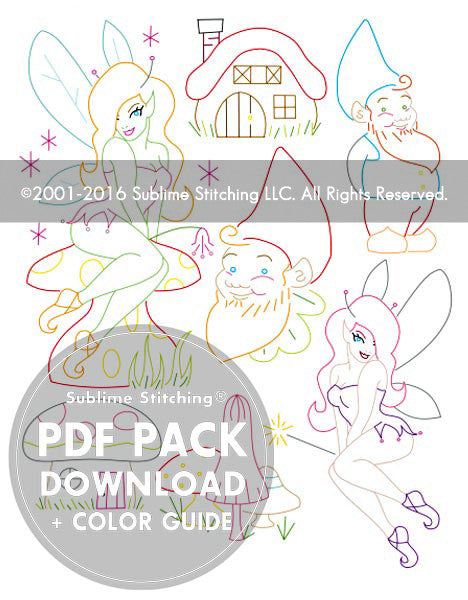 SMALL PACK Embroidery Patterns -  GNOMES & FAIRIES