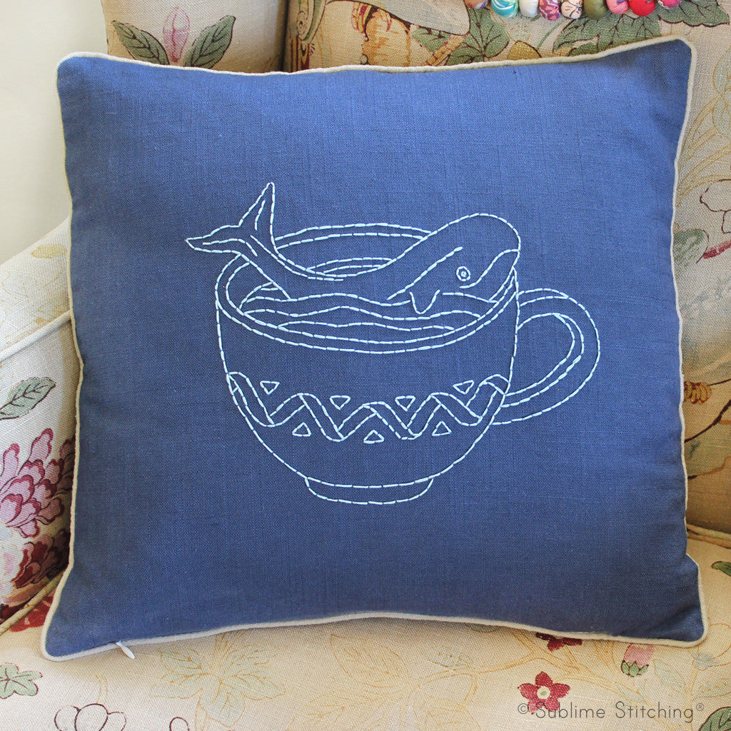 Whale in a Teacup Beginner Embroidered Pillow Kit