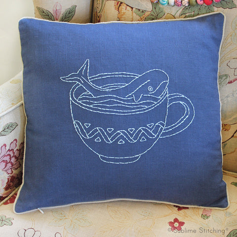 Beginner Embroidery Pillow Kit - Whale in a Teacup