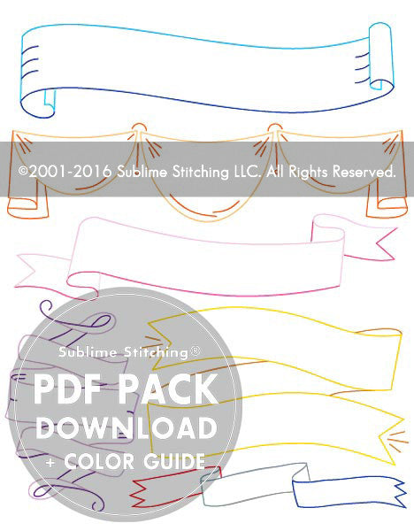SMALL PACK Embroidery Patterns -  RIBBONS and BANNERS