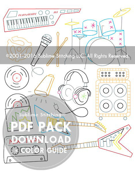 SMALL PACK Embroidery Patterns -  ROCK 'N ROLL