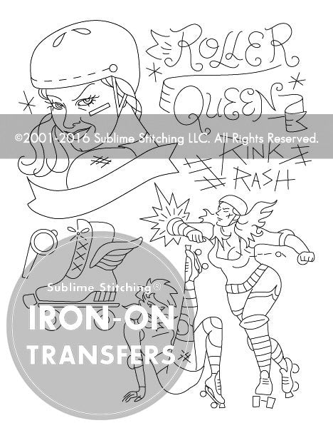 SMALL PACK Embroidery Patterns -  ROLLER DERBY