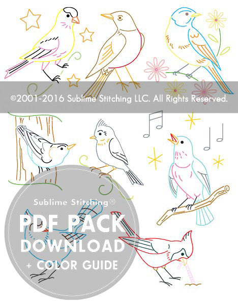 SMALL PACK Embroidery Patterns -  SONG BIRDS