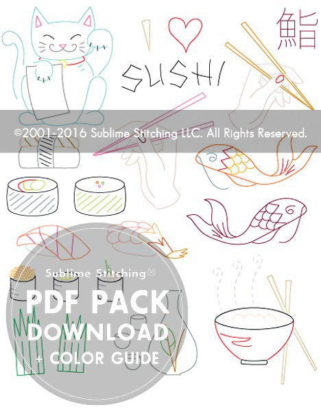 SMALL PACK Embroidery Patterns -  SUSHI BAR