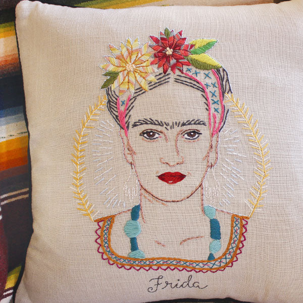 Frida kahlo embroidered portrait embroidery kit by jenny