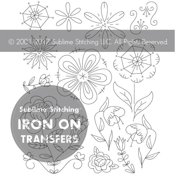 SMALL PACK Embroidery Patterns -  FANTASY FLOWERS