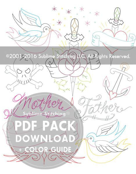 SMALL PACK Embroidery Patterns -  TATTOO YOUR TOWELS