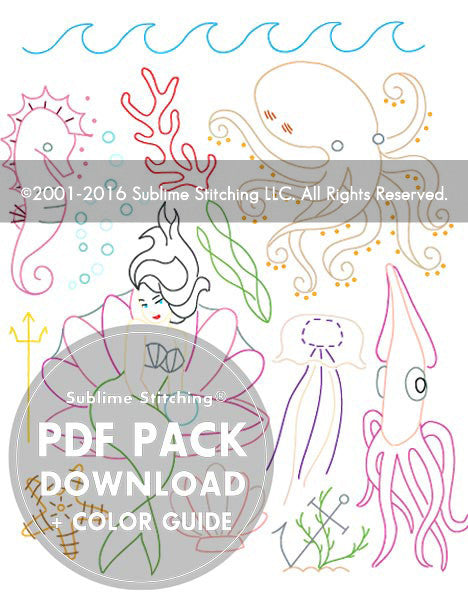 SMALL PACK Embroidery Patterns -  UNDER THE SEA