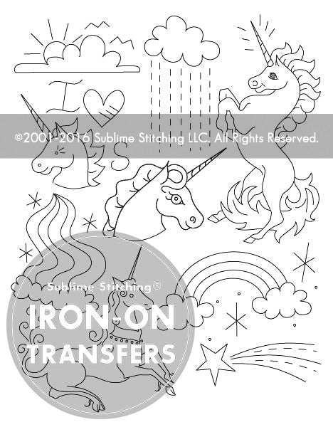 SMALL PACK Embroidery Patterns -  UNICORN BELIEVER
