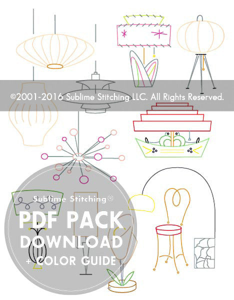 SMALL PACK Embroidery Patterns -  VINTAGE LAMPS