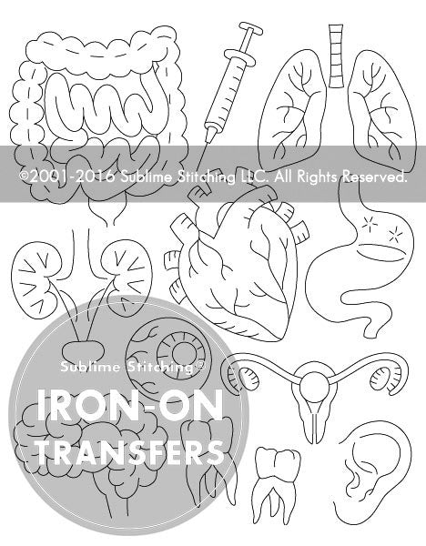 SMALL PACK Embroidery Patterns -  VITAL ORGANS