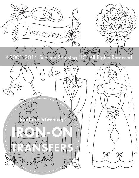 SMALL PACK Embroidery Patterns -  WEDDING WISHES