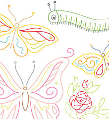 SMALL PACK Embroidery Patterns -  BUTTERFLY GARDEN