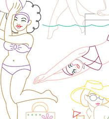 BEACH BABES - Embroidery Patterns