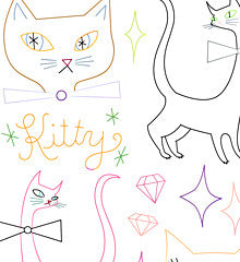 SMALL PACK Embroidery Patterns -  CAT-A-RAMA