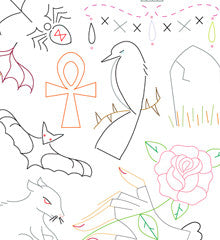 SMALL PACK Embroidery Patterns -  GOTHIC GRANDEUR