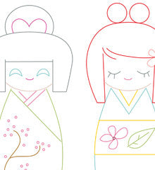 SMALL PACK Embroidery Patterns - KOKESHI DOLLS