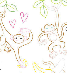 SMALL PACK Embroidery Patterns - MONKEY LOVE