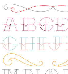 SMALL PACK Embroidery Patterns -  TATTOO ALPHABET