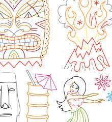 SMALL PACK Embroidery Patterns -  TIKI FREAK