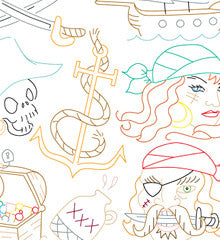 SMALL PACK Embroidery Patterns -  PIRATES AHOY
