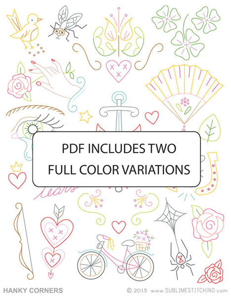 SMALL PACK Embroidery Patterns -  HANKY CORNERS