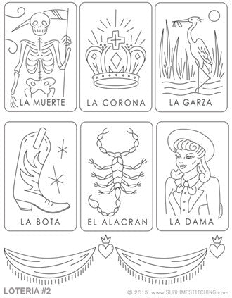 SMALL PACK Embroidery Patterns - LOTERIA 2
