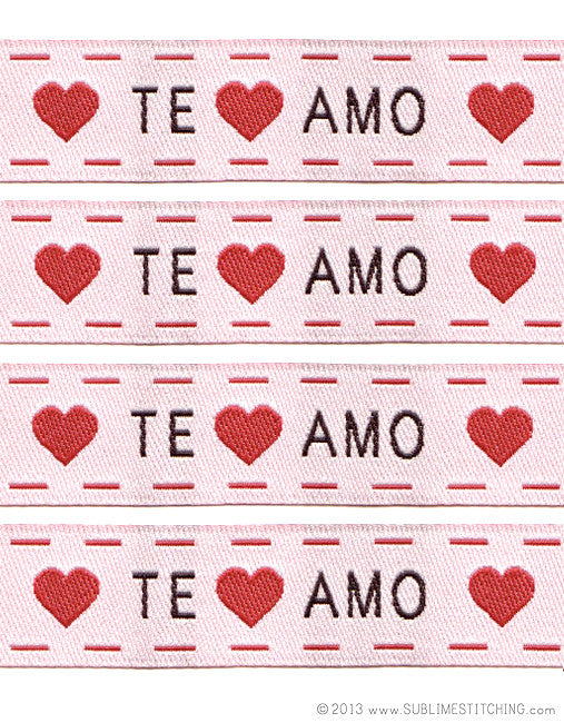te amo woven labels sublime stitching