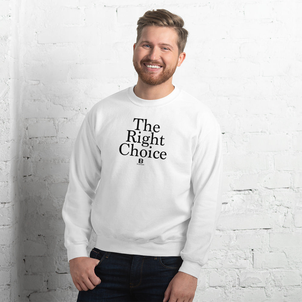 The Right Choice white sweater with our ballwalk logo. The Right Choice is written in black text and our ballwalk logo is also in black.