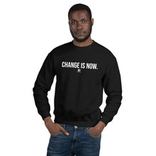Load image into Gallery viewer, Our Change is Now is black sweatshirt with our ballwalk logo. Change is Now is written in white text and our ballwalk logo is also in white.