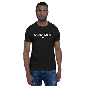 Our Change is Now is black t-shirt with our ballwalk logo. Change is Now is written in white text and our ballwalk logo is also in white.